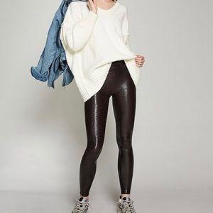 Spanx High Rise Sheen Croc Brown Leggings XL